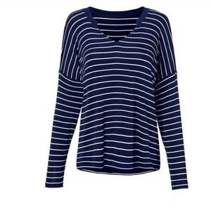 Cabi Ahoy Striped Navy Blue & White Long Sleeve